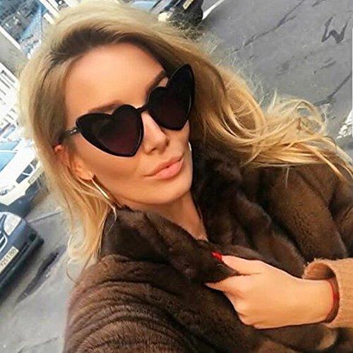 forma de mujer moda retro Gafas Black sol para corazón de en ADEWU Chicas Gafas de wHqSCTI