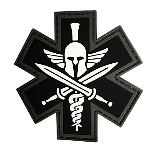 PVC TACTICAL EMS PATCH BLACK AND GRAY, 2 ¾""