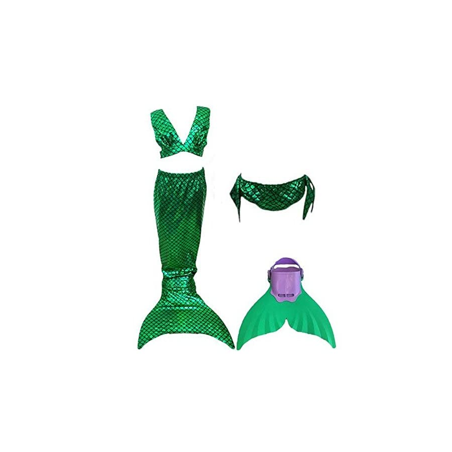 Kid's Girls Swimsuit Mermaid Tail Swimming Bikini Set Swimwear 4pcs Set Includes Fin
