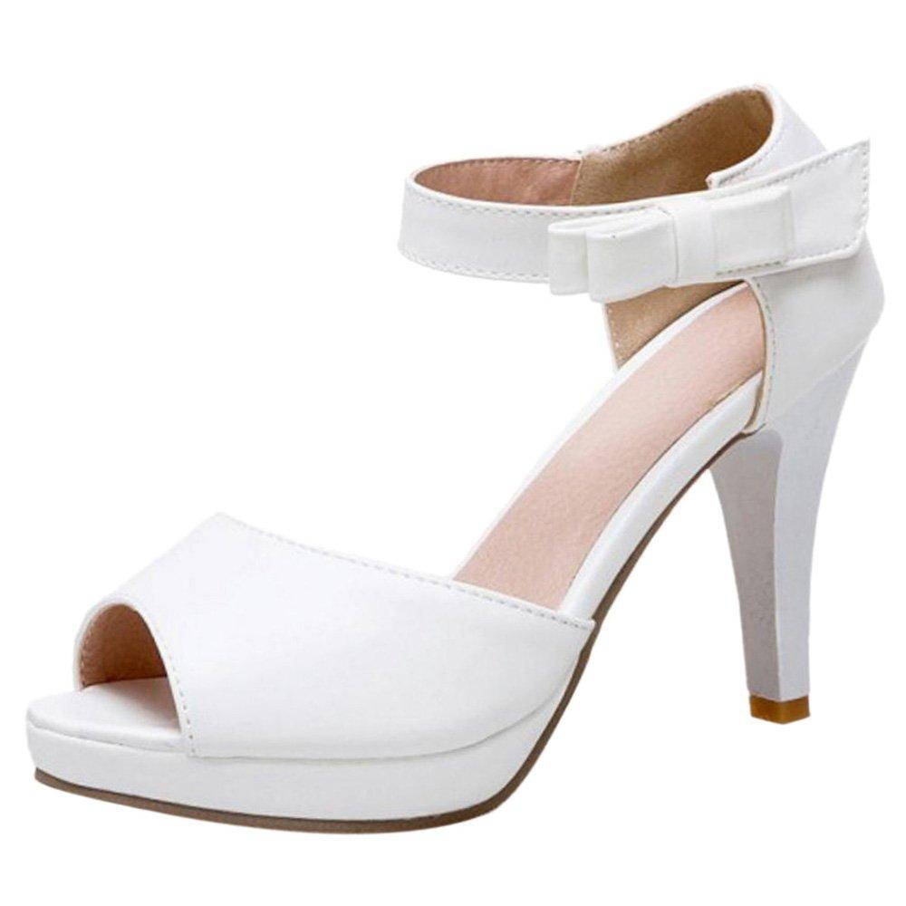TAOFFEN Damen High Heel Peep Toe Sandalen Sommer  33 EU|White