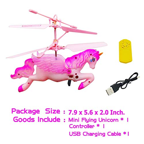 CJWPOWER Unicorn Toys, Pink Mini Flying Helicopter Unicorn Toy Gifts for Little Girls 6 Years Old Up Birthday Xmas Party Supplies by CJWPOWER (Image #4)