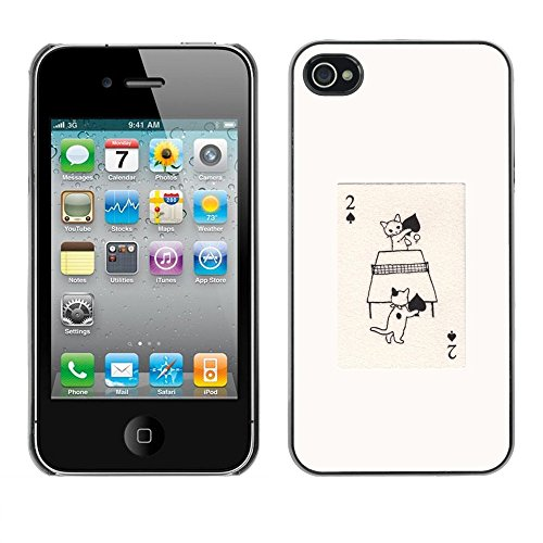 Soft Silicone Rubber Case Hard Cover Protective Accessory Compatible with Apple iPhone? 4 & 4S - cat ping pong cartoon cute table tennis