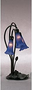 """Meyda Home Indoor Decorative Lighting Accessories 16""""H Blue Pond Lily 3 Lt Accent Lamp"""