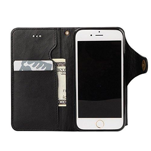 para iPhone 6s Wallet Phone Case, Vandot Premium PU Cuero Caja del Teléfono de la Carpeta con Desmontable TPU Bumper Phone Shell y Ranuras Tarjeta de Crédito y Makeup Mirror Multifuncional Mano Bolsa  HGKPT 03