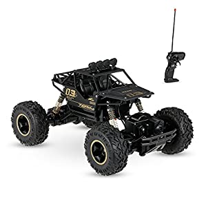 Toyshine Alloy Dirt Drift Remote Controlled Rock Car RC Monster Truck, Four Wheel Drive, 1:18 Scale 2.4 Ghz, Black