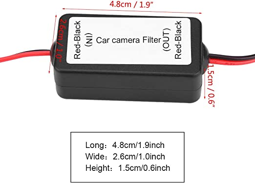 Qiilu Raddrizzatore del filtro del condensatore del rel/è di alimentazione della telecamera retrovisiva per auto 12V DC