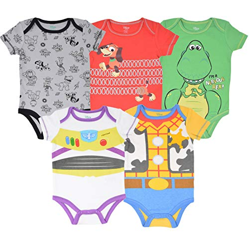 (Disney Pixar Toy Story Baby Boy 5 Pack Bodysuit Buzz Lightyear Woody Rex Slinky Dog)