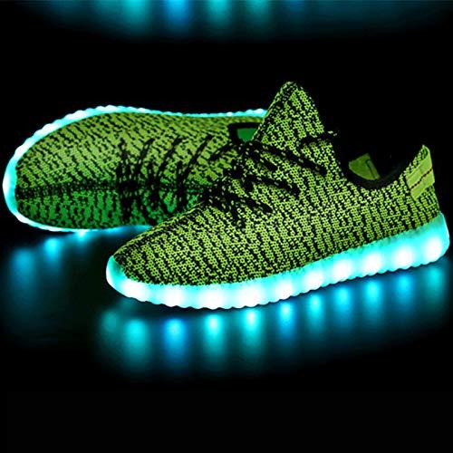 ZHZNVX Zapatos Unisex Tulle Primavera/Otoño Comfort/Novedad Sneakers Zapatos para Caminar Talón Plano Punta Redonda con Cordones/LED Gris/Rojo / Verde, Verde, US7 / EU39 / UK6 / CN39