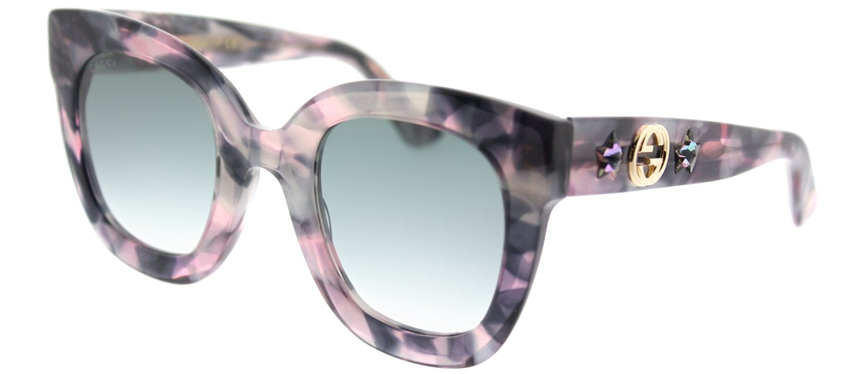 Gucci GG 0208S 004 Grey Havana Plastic Fashion Sunglasses Grey Gradient Lens