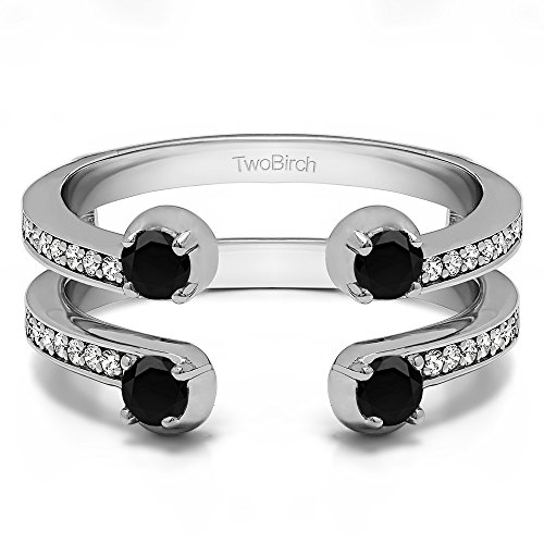 Sterling Silver Two Stone Wedding Ring Guard with Black And White Diamonds (G-H,I2-I3) (0.36 ct.) ()