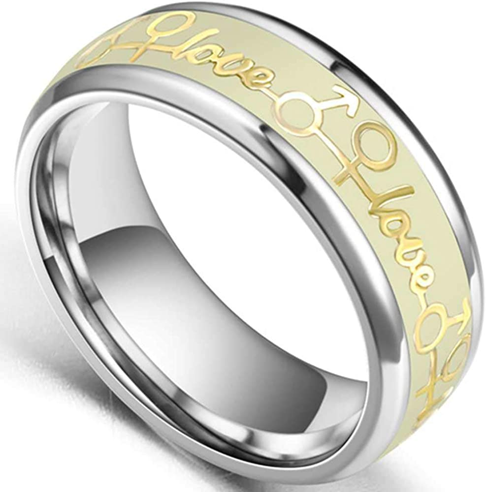 Jude Jewelers 8mm Stainless Steel Love Arrow Night Glowing Wedding Band Promise Anniversary Ring