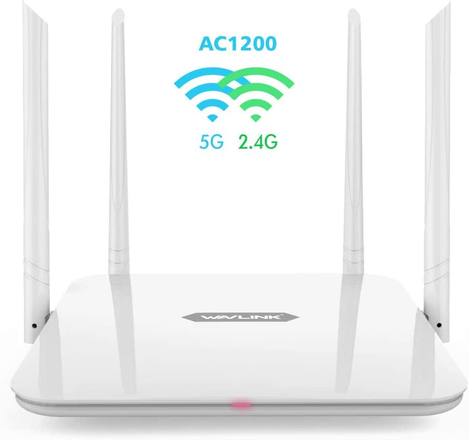 Gigabit WiFi Router,WAVLINK 1200Mbps WiFi Router,High Power Wireless Wi-Fi Router,Dual Band 5Ghz+2.4Ghz with 2 x 2 MIMO 5dBi Antennas Internet Router
