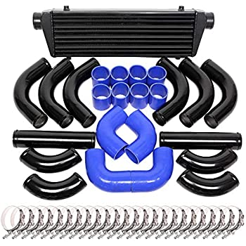 BLACK PIPING Universal 12 pcs 2.5/' BLUE COUPLER INTERCOOLER KIT+T-Bolt CLAMPS