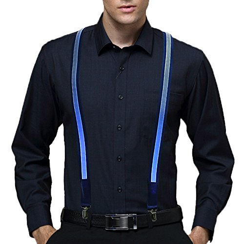 Led Light Up Suspender,Battery Operated Suspender for Party Favor, Blue ()