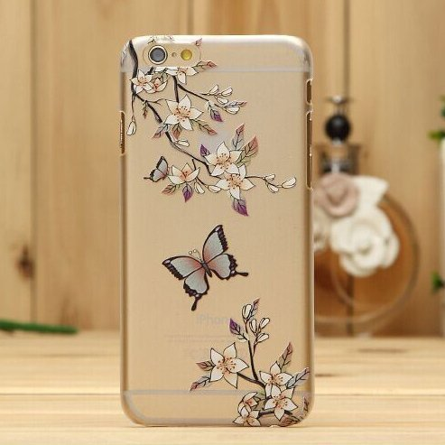 Iphone 6/6s Case, LU2000 Clear Translucent Hard Back With Floral [Monarch Butterfly Series] Back Case for Apple iPhone 6 or 6s 4.7inch