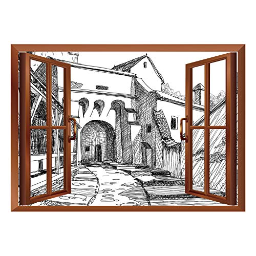 SCOCICI Creative Window View Home Decor/Wall Décor-Medieval Decor,Medieval Citadel Sketch House of Legendary Vampire Dracula Old Mystical Tales Art Work,Black White/Wall Sticker Mural