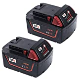 Enegitech 2 Pack Replacement  Battery For Milwaukee M18 18V XC 5.0Ah High Capacity Red Lithium Cordless Power Tools 48-11-1840 48-11-1850
