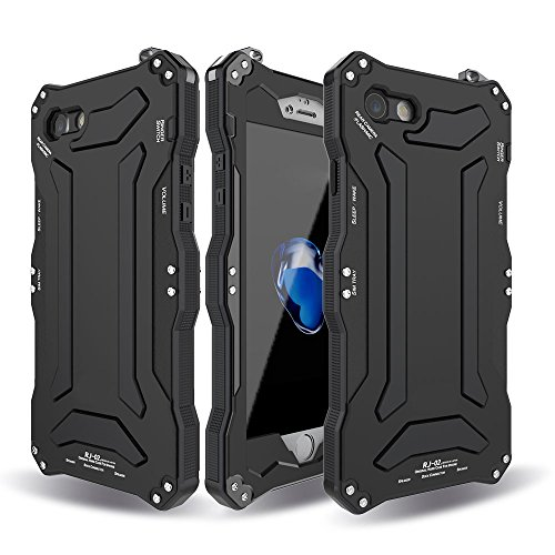 iphone 7 plus case,Feitenn Water resistant Armor case Extreme Alloy Aluminum Metal Bumper Gorilla Glass Soft Rubber Military Heavy Duty Shockproof Hard Case For iphone 7 plus 5.5 inch (Black)