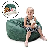 YuppieLife EXTRA LARGE Kids stuff'n Sit - Magic Animal Storage Bean Bag cover - Kids & Teenager Cuddle Chair - organizing everything - Clean up the Room - Growth Gift(38'',Green, White Dot)