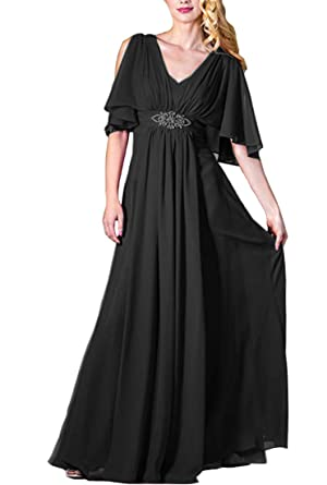 5d492c78bb78 Lilyla Womens Long Mother of Bride Dresses Half Sleeves Prom Bridesmaid  Dresses for Mother Black 0