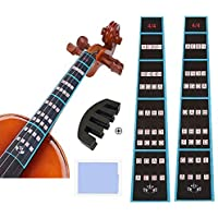 Violin Finger Guide and Rubber Mute Pack, 4/4 Violin Notes Sticker Full Size Guide, Violin Label Chart Plus Rubber Mute…