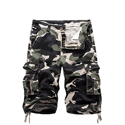 iZHH Men's Pants Casual Camouflage Pocket Beach Work Short Trouser Cargo Shorts Pant