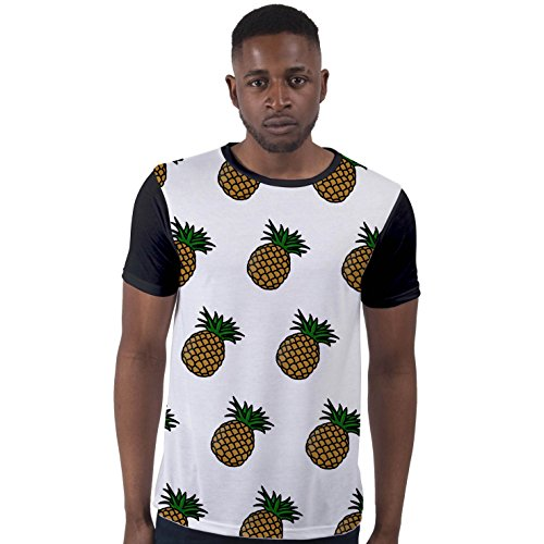Bang Tidy Clothing Men's Sublimation Pineapple Fruit Top Hipster Holiday Graphic Tee Black L -