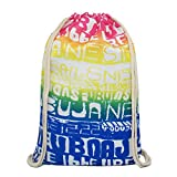 Artone Gradient Letters Drawstring Bag Travel Daypack Sports Portable Backpack Deep Blue