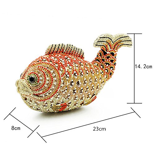 For Evening Purses Women Rinestones Removale Crystals Fish Evening Red Animals With With Party Chain Wedding Clutch Bag wxPqYWd10