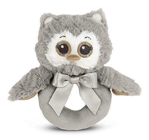 Bearington Baby Lil' Owlie Plush Stuffed Animal Gray Owl Soft Ring Rattle, 5.5