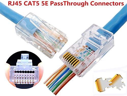 RJ45 CAT5 CAT5e Connector - End pass through Ethernet 8P8C GoldPlated modular plug 50 Pack