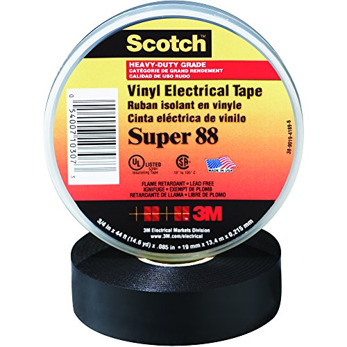 BOX USA BT96608810PK Black 3M Super 88 Electrical Tape, 8.5 mil, 1 1/2'' x 44' (Pack of 10) by BOX USA