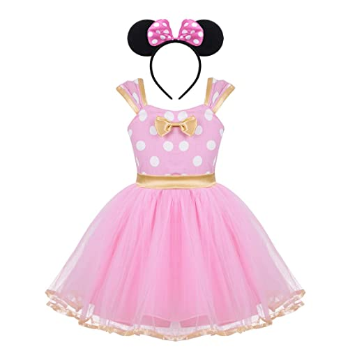 ffdb80e54d5b2 iEFiEL Girls' Polka Dots Princess Party Christmas Cosplay Pageant Fancy  Costume Tutu Dress up with Ears Headband