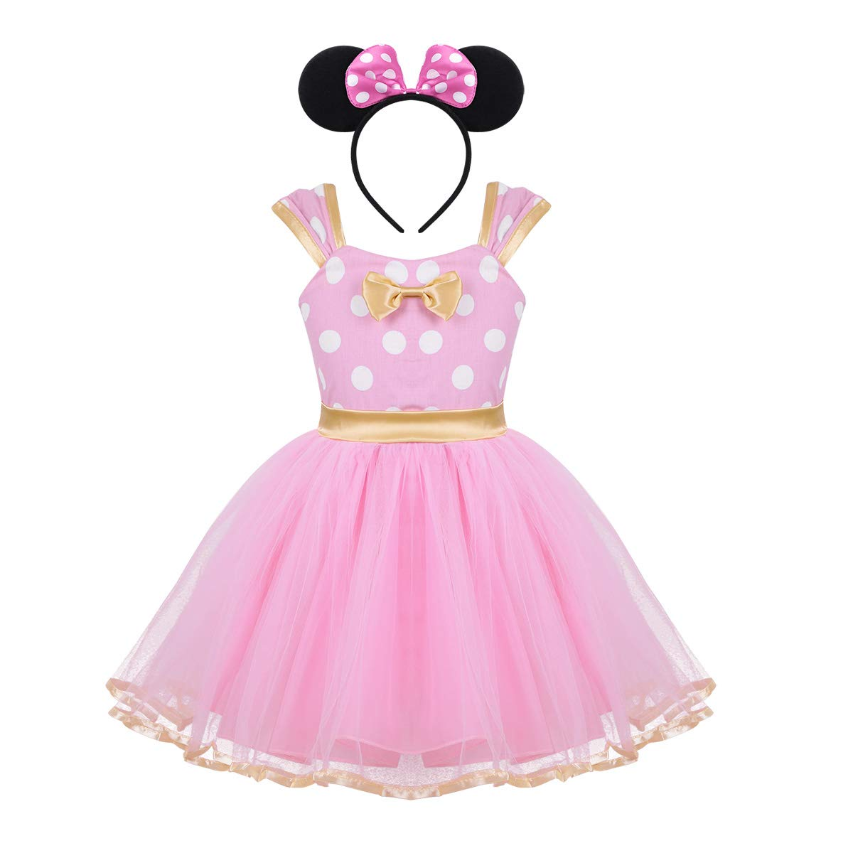 TiaoBug Infant Girls Polka Dots Princess Party Cartoon Mouse Costume Pageant Tutu Dress Pink (with Headband) 18-24 Months