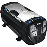ENERGIZER 3000 Watt Power Inverter converts 12V DC from car's battery to 120 Volt AC with 2 USB ports 2.1A shared compatible with iPad iPhone by Energizer