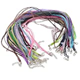HOUSWEETY 22 Mixed Organza Ribbon Waxen Cord Lobster Clasp Necklaces 43.2cm 17""