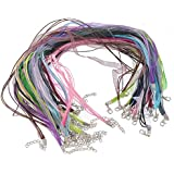 """Housweety Organza Ribbon Waxen Cord Lobster Clasp Necklaces 43.2cm 17"""" 22 Mixed Color"""