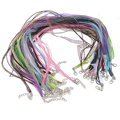 "Housweety Organza Ribbon Waxen Cord Lobster Clasp Necklaces Mixed Color 43.2cm 17"",22pcs"