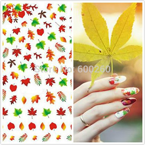 SymWell(TM) 3D DIY RED Green Maple leaf Canada Autumn Fall fairground Rose Butterfly Beauty Nail Art Tip Nail Sticker Gel Nails Beauty Decal
