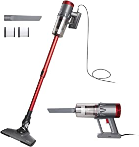 OKP Vacuum Cleaner Corded 17KPa Suction Handheld & Stick Vacuum, Lightweight & Versatile with Metal filter and HEPA for Hardwood Floor Pet Hair