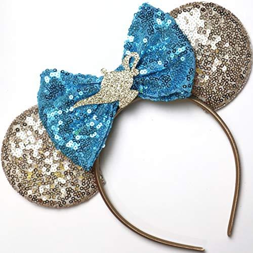 CLGIFT Jasmine Inspired Minnie Mouse Ears, Aladdin Minnie Ears, Princess Jasmine Ears, Rainbow Sparkle Mouse Ears,Classic Red Sequin Minnie Ears (Aladdin Jasmine)