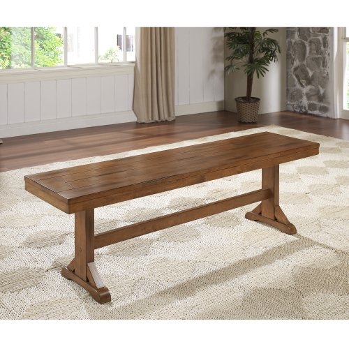 (WE Furniture Solid Wood Brown Dining Bench)