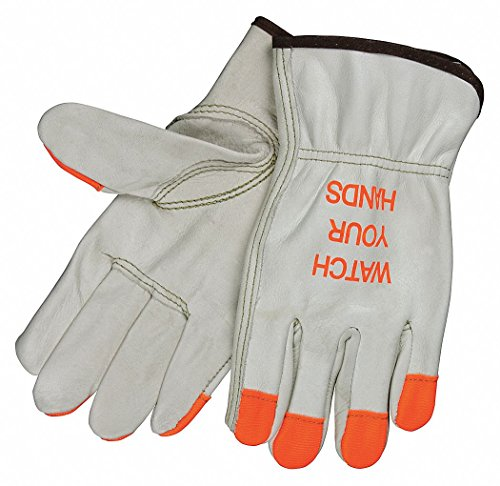 MCR Safety 3213HVIXL Grain Cow Full Leather Driver Industry Grade Men's Gloves with High Visibility Orange Fingertips, Cream, X-Large, 1-Pair