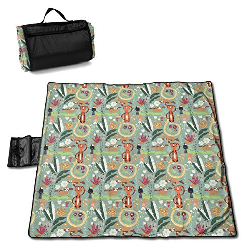 FUNMAX Zoo Zany Funky Monkey Traditions Large Picnic Blanket Water Resistant Tote Great for Picnics Camping On Grass at The Beach Tailgating at Stadiums Durable Mat Has Waterproof Backing 60 X 58 in.