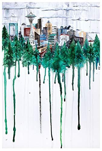 Seattle, Washington Skyline Through Trees Travel Art Print Poster by Ursula Barton (12