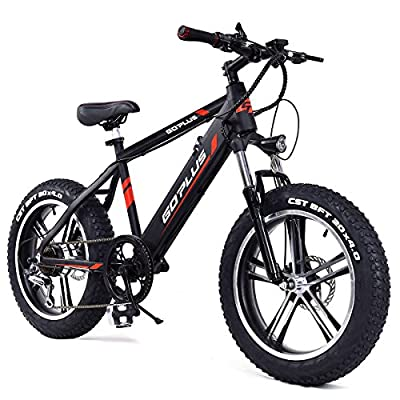 "Goplus 20"" Electric Mountain Bike Bicycle E-bike Fat Tire Snow Beach Bike 17MPH Max Speed with Removable 48V 350W Lithium Battery, Charger and Shimano Speed Shifter"