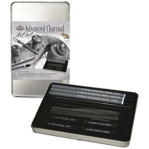 Drawing Materials Charcoal - Royal & Langnickel RSET-ART2503 Small Tin Charcoal Drawing Art Set