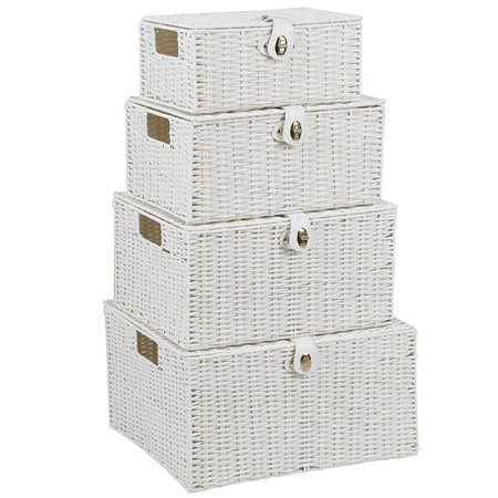 Basket Bins Storage Box Set - Stackable Woven Shelf Organizer with Hinged Lid Strap - Lock Handles - Woven Basket Set - 4pcs - white by Basket Bins