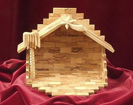 Presepi Di Legno Betlemme : Stalla del presepio betlemme altezza cm intagliate a mano in