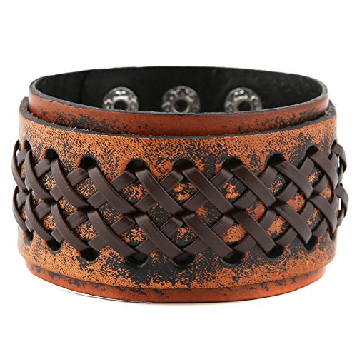 HZMAN Stunning Brown Gipsy Kings Style Cuff Leather Bracelet Wristband Bangle Fashion (Resizable) ()